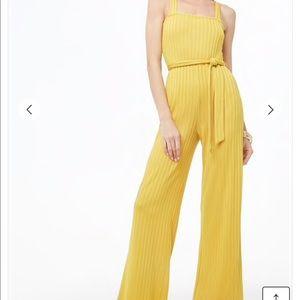 Yellow Mustard Ribbed Wide Leg Jumpsuit